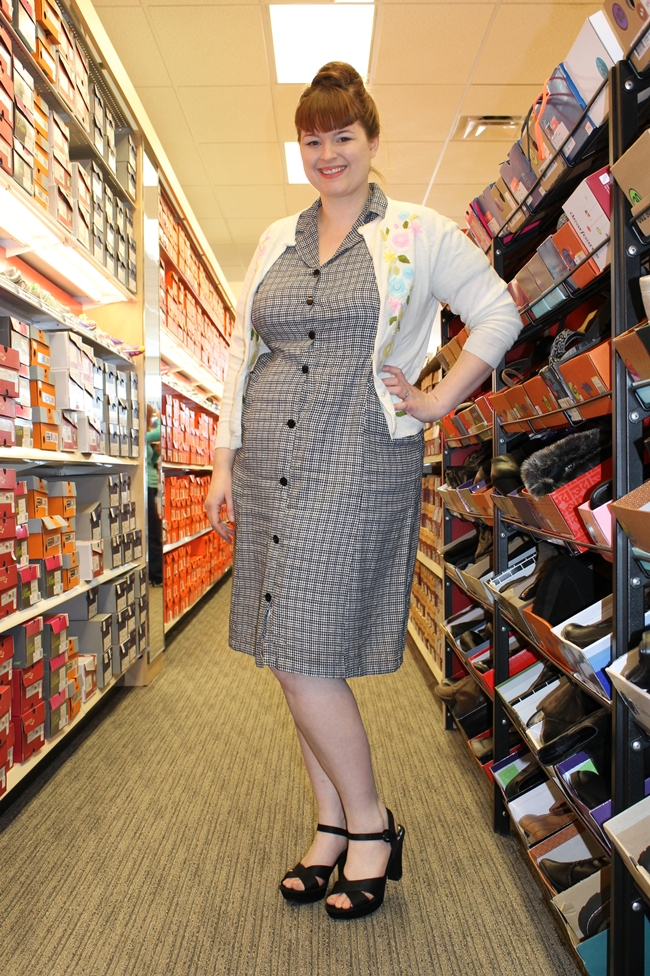 1960s dress and 1950s cardigan