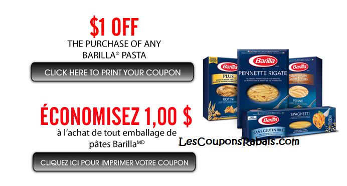 Barilla coupons rabais