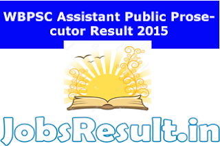 WBPSC Assistant Public Prosecutor Result 2015