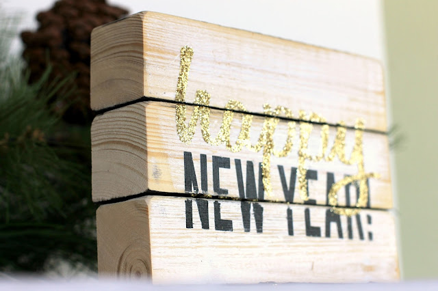 Four sided Wood block sign, Happy New Year by CleverNestShop on Etsy #rusticwoodsign #woodblocksign #blockdeskdecoration