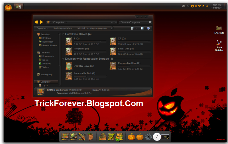 the halloween windows 7 skin pack will be a special horror gift for youif you love halloweenthis windows 7 halloween pack consists scary windows theme - Windows 7 Halloween Theme