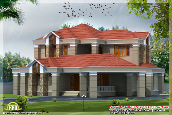 3250 square feet flat roof house elevation