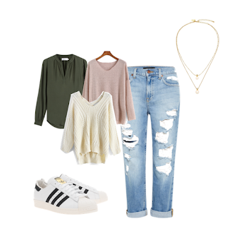 boyfriend jeans ripped class outfit