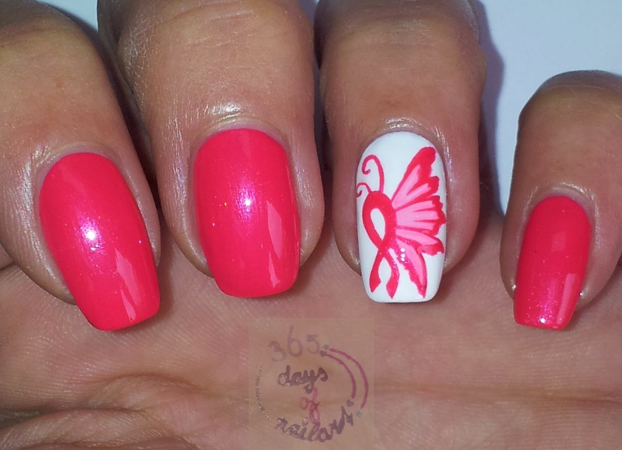 365+ days of nail art: Day 277) Breast cancer awareness month