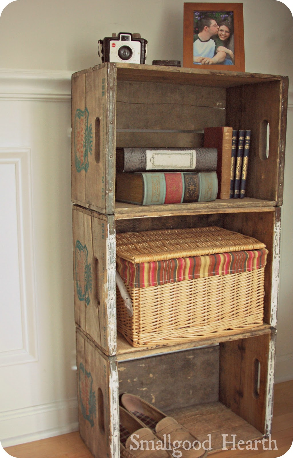 wood soda crate shelf