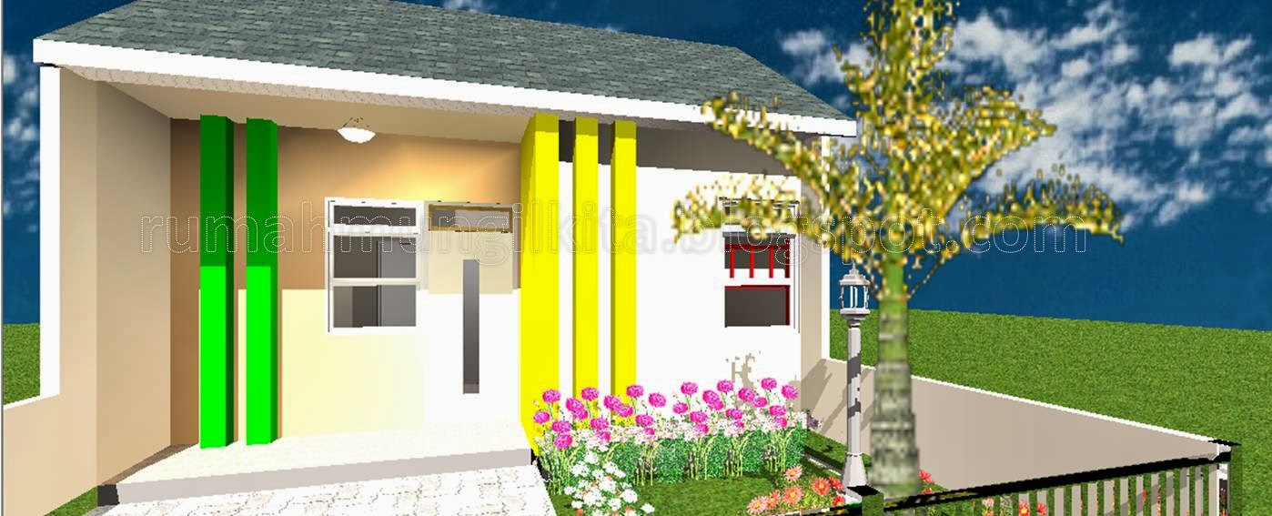 tampak luar rumah tipe 25 tanah 60 m2 dengan dua kamar tidur