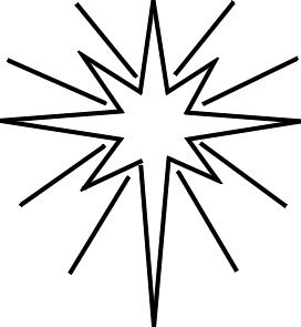 Christmas star ornament glowing coloring page for children