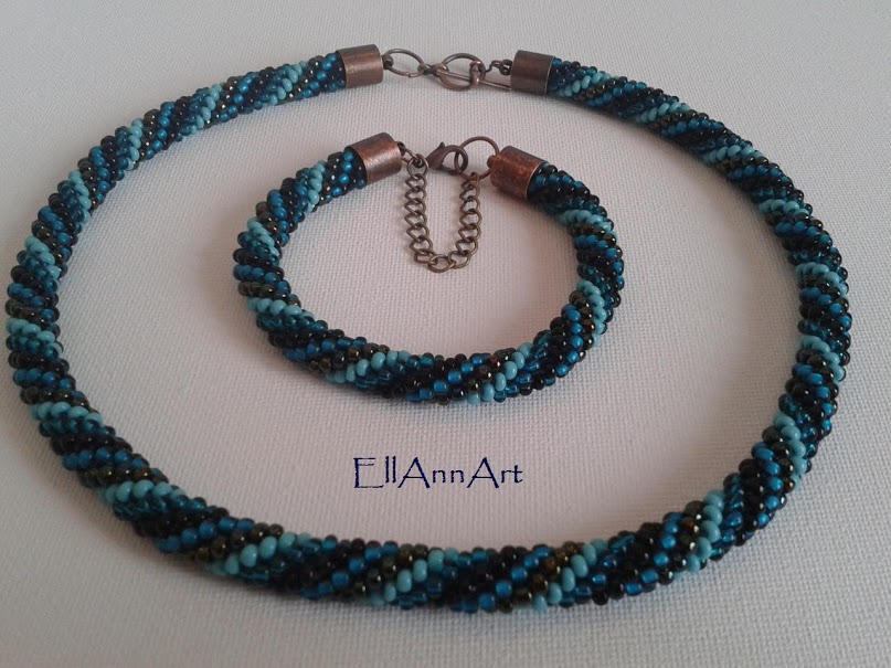EllAnnArt - Szydełkowy sznur koralikowy - Bead Crochet Rope