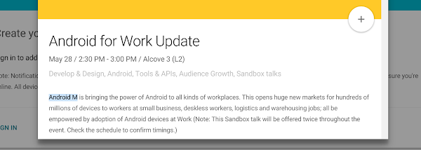 Android M reference in Android for Work at Google I/O