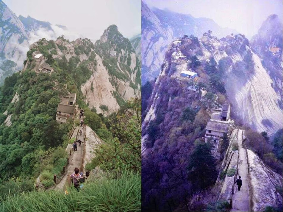 Summer and winter at Hua Shan Mountain China