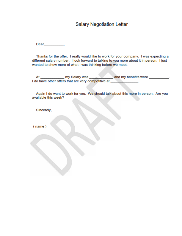 Salary Negotiation Letter Template