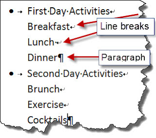 microsoft word how to line break axis