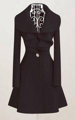 Elegant Black Long Sleeve Woolen Coat
