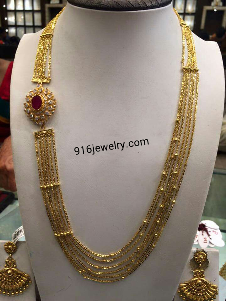 Stunning 6 Lines Chandraharam With Ruby Pendant 916