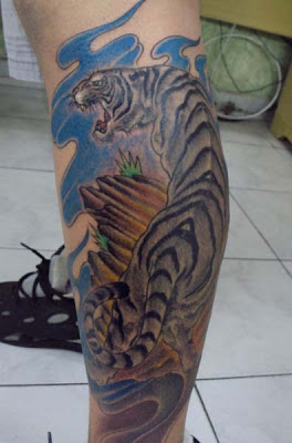 White Tiger Leg Tattoo