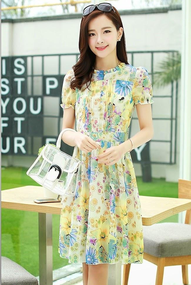 New 2015 Spring Summer Short Sleeve Sweet Feminine Floral High Neck Chiffon Dress