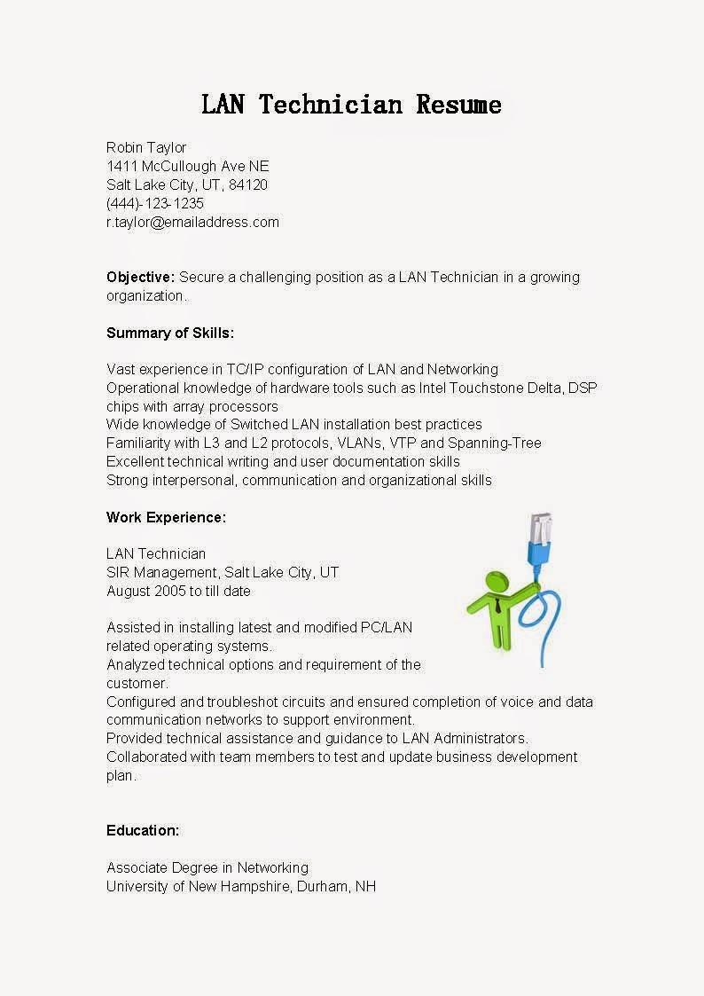 resume samples  lan technician resume sample