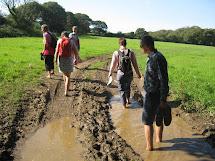 Women Hiking Barefoot