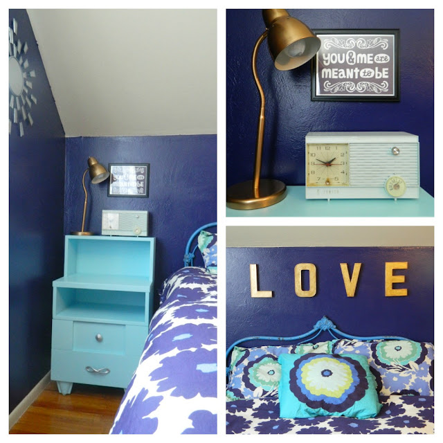 mid-century master bedroom navy aqua 1950s radio Amy Butler vintage Just Peachy, Darling