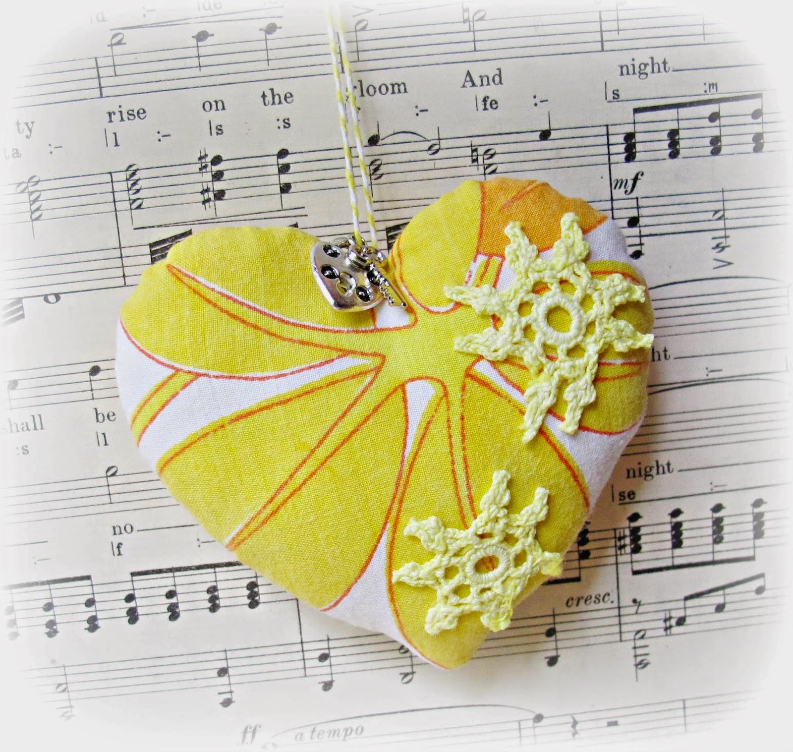image key to my heart ornament pin cushion domum vindemia yellow orange doilies lock key charm vintage fabric sew mama sew giveaway day may 2014