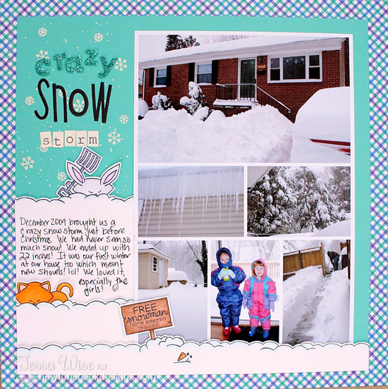 Snow Storm Scrapbook Page by Tessa Wise for Newton's Nook Designs | Winter Tails Stamp Set