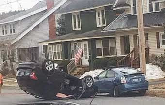 Car Flips on Bowers Avenue