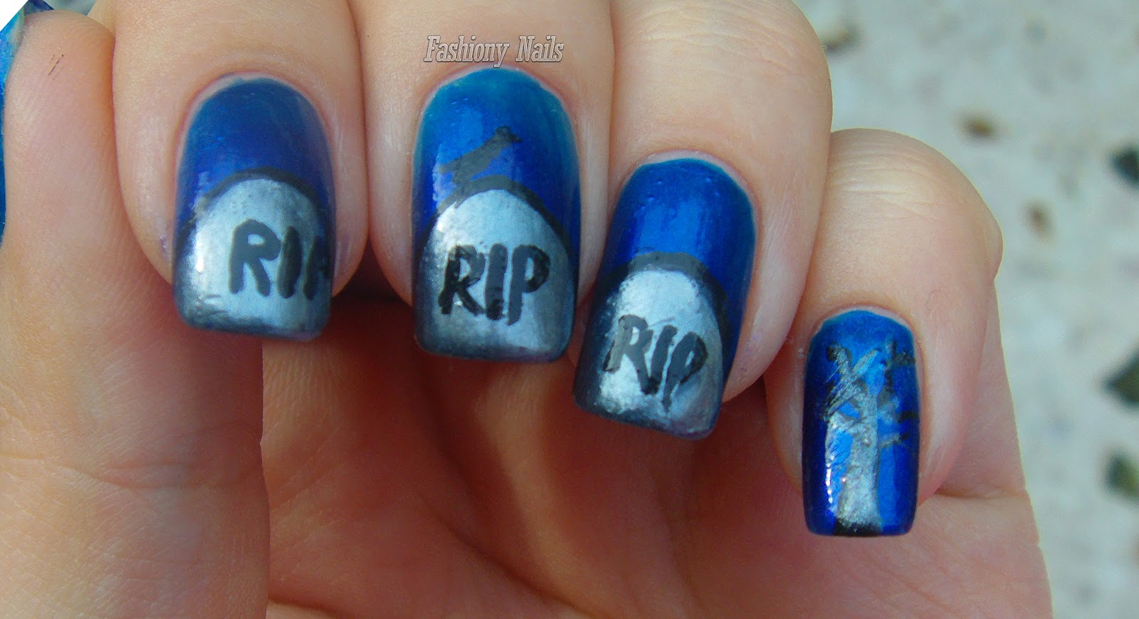 Halloween nail art challenge tombstone fashiony nails beauty blog halloween nail art tombstone prinsesfo Choice Image