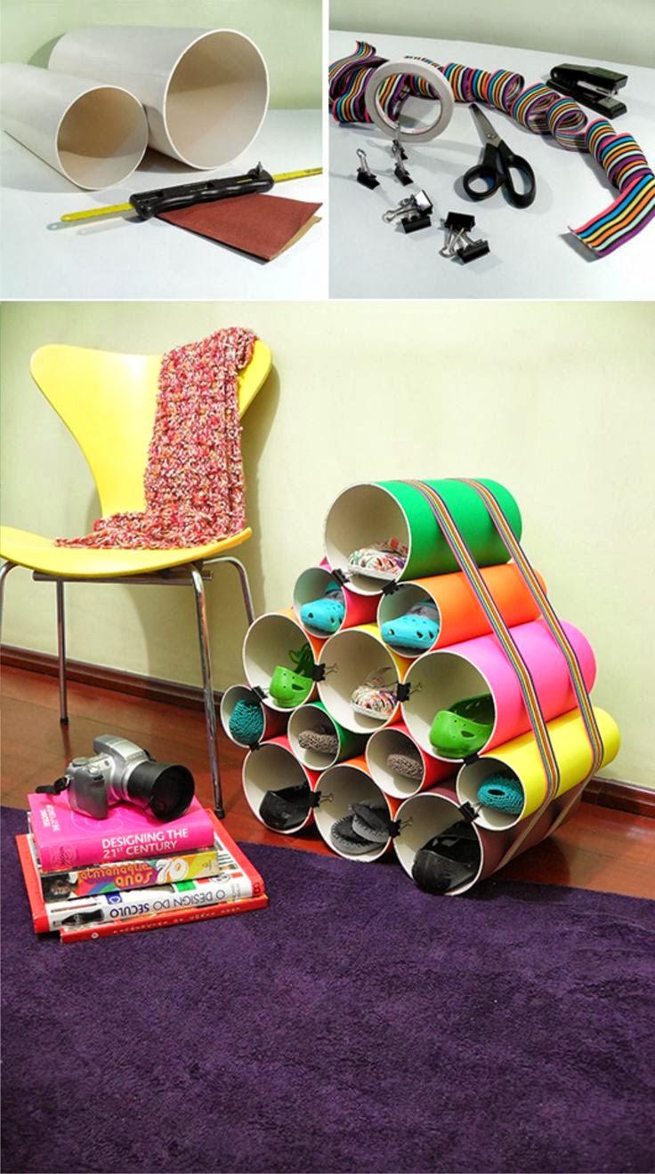 El mundo del reciclaje diy zapatero con tubos de pvc - Organizador de zapatos casero ...