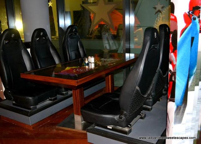 race cars seats at Stars N Bars Yas Island