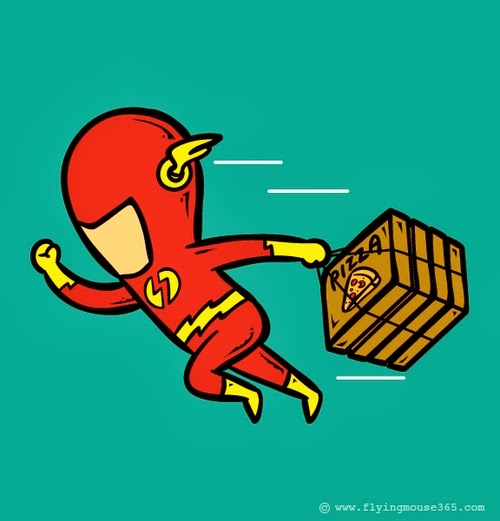 05-The-Flash-Pizza-Delivery-Man-Illustrator-Chow-Hon-Lam-Superheroes-Part-Time Jobs-www-designstack-co