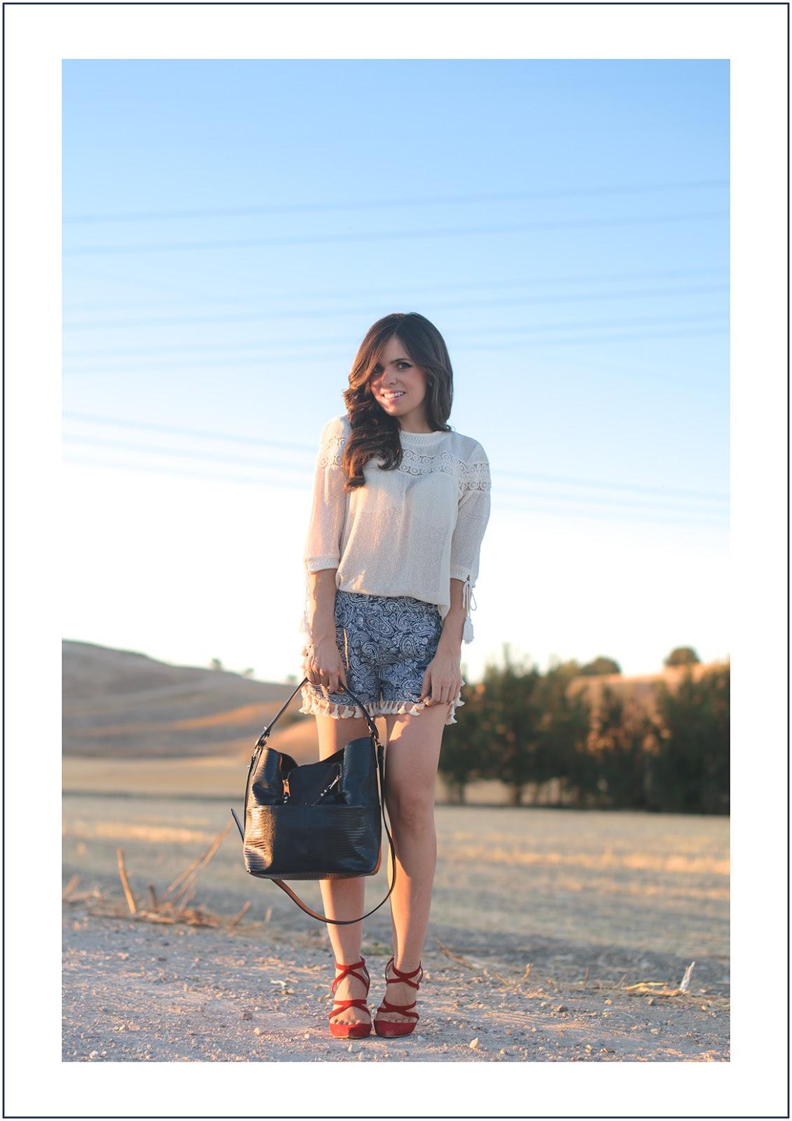 look con shorts de estilo boho de shein