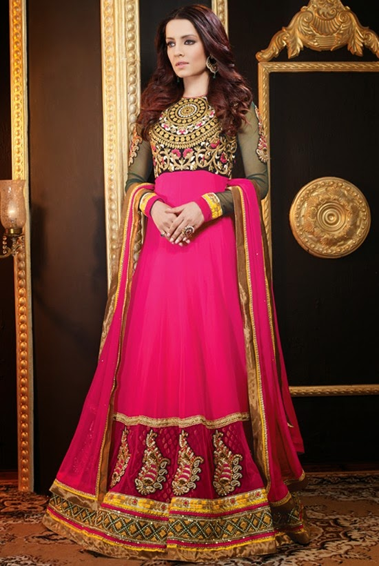 Faux Georgette Magenta Designer Embroidery Anarkali Suit with Dupatta