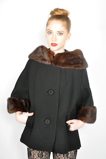 Vintage back wool cropped swing coat with brown mink collar and cuffs.