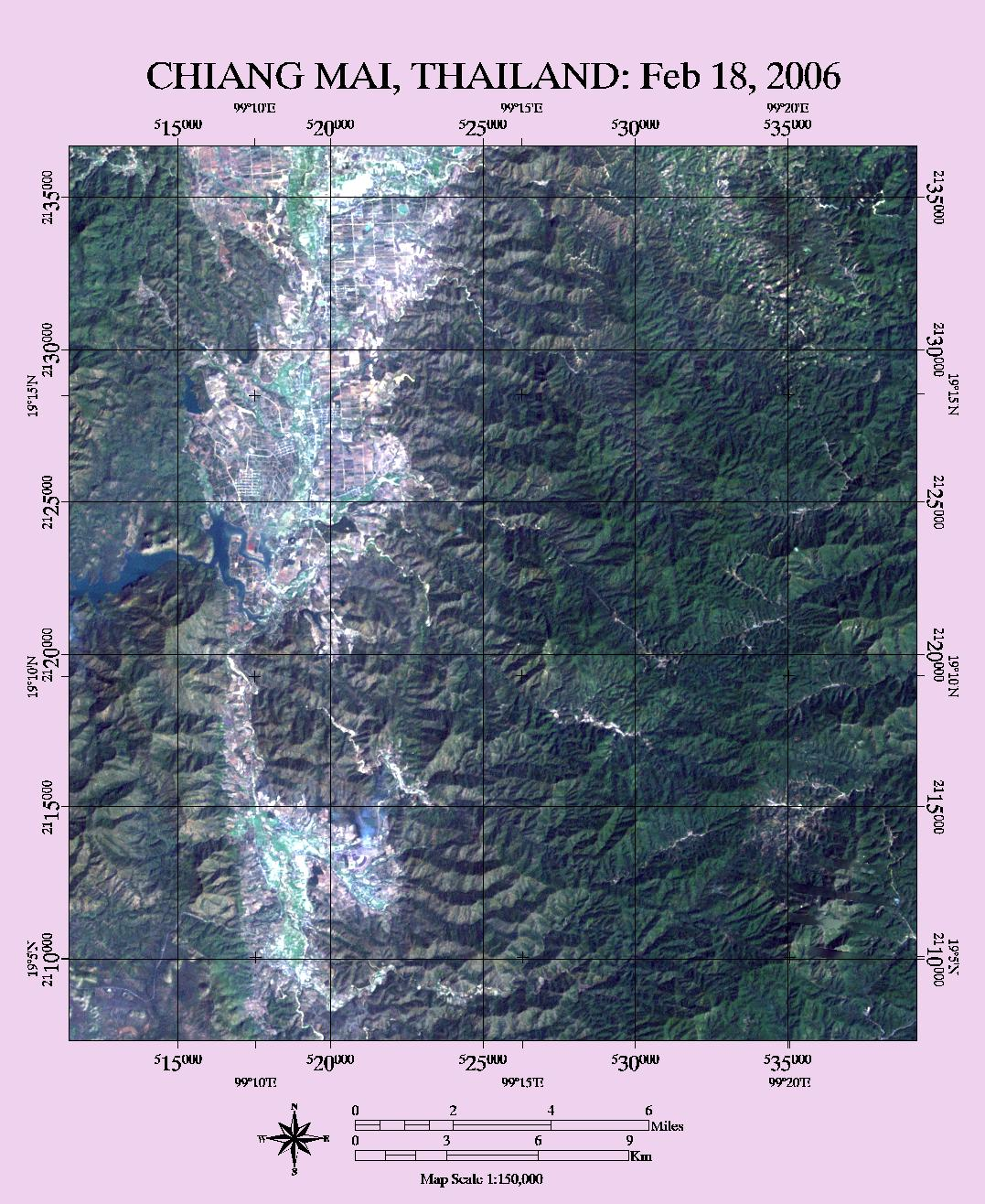 figure 2 satellite image of study area in the chiang mai province april 2001