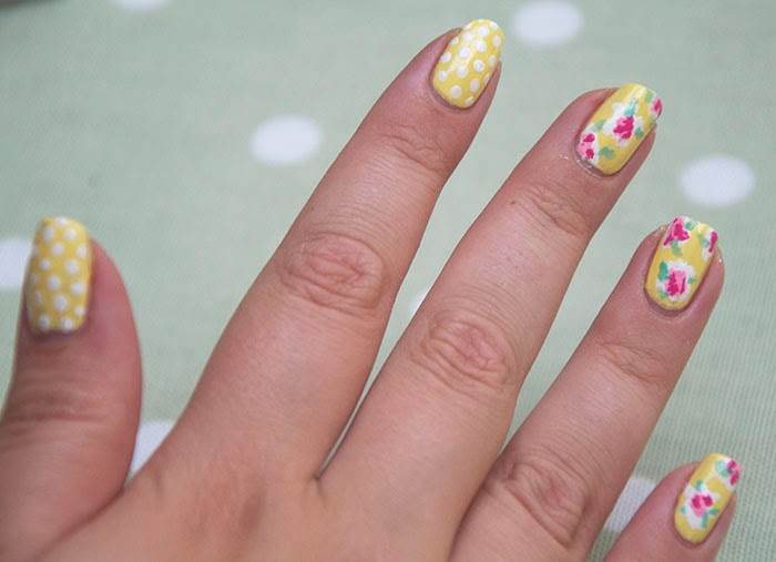 Cath Kidston Inspired Nails Floral Flowers Polka Yellow