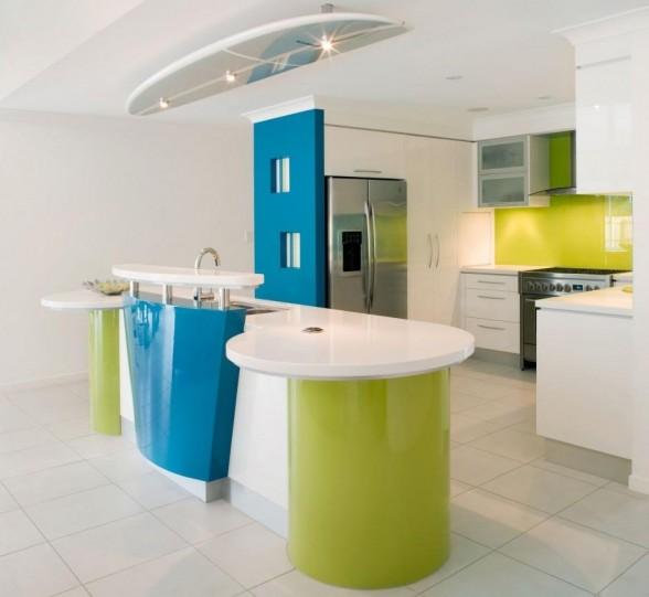 Como Decorar mi Casa: Diseño de Modernas Cocinas con color Azul y verde