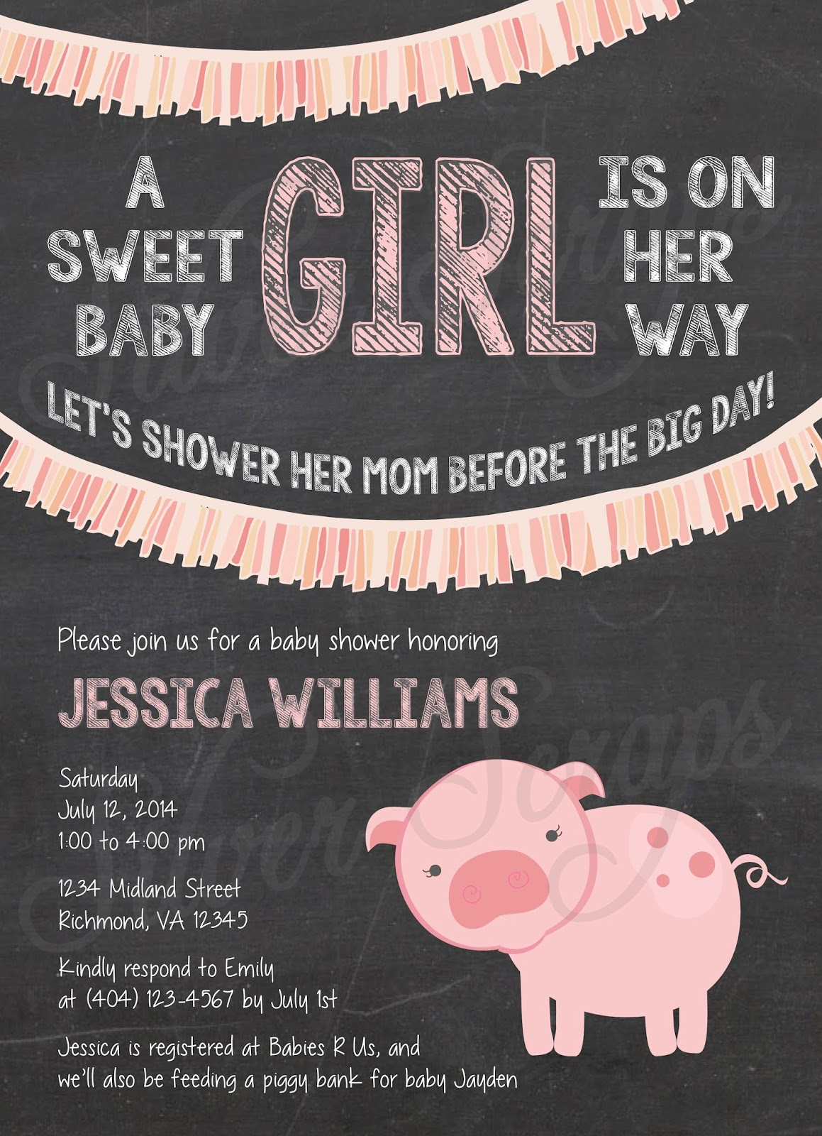 Chalkboard, Bunting and Pink Piggy Custom Girl Baby Shower Invitation - Fringe Pig Farm Garland Banner Flags Chalk Black White - 5 Printable Designs - Silver Scraps Peach Light Pink Blush Cream