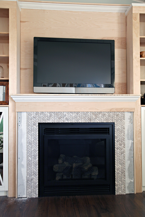 Iheart organizing diy fireplace built in tutorial for now we have not grouted this tile because it is so tightly woven and the texture would make it nearly impossible in fact home depot told us not to solutioingenieria Gallery