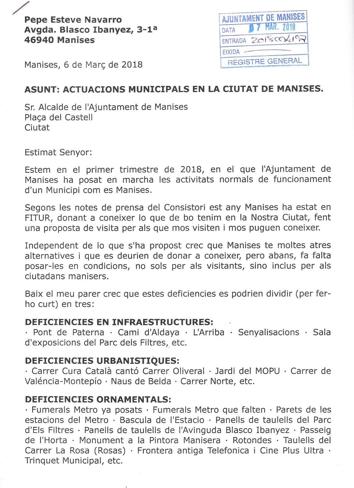 08.03.18 CARTA PER REGISTRE A L'AJUNTAMENT DE MANISES