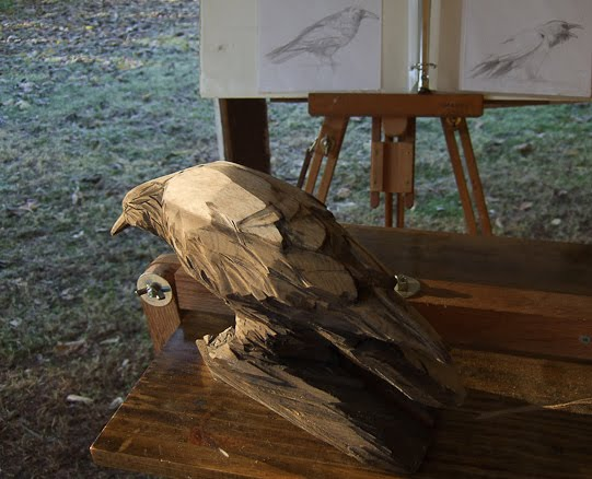 valley oak corvid carving