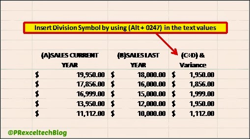 How To Insert Division Symbol In Excel Howto Excel