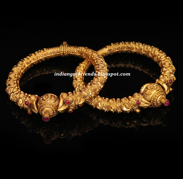 Check out antique gold bangles or kada bangles studded with pota