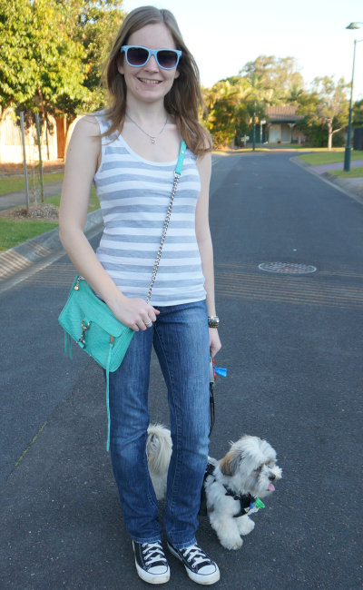 Casual weekend jeans stripe tank RM mini mac crossbody converse chucks