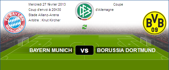 Regarder Match En Direct sur aljazeera sport Bayern Munich vs Borussia Dortmund Le 27-02-2013