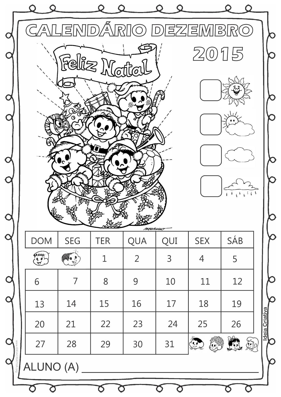 Calendário Turma da Mônica 2015 para Imprimir Grátis Dezembro Natal
