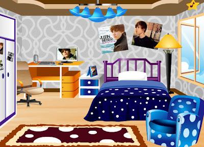 juego de disear la habitacin de la fan del cantante y famoso justin bieber tienes muchos muebles para elegir como armarios camas ventanas