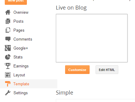 Edit HTML on Blogger