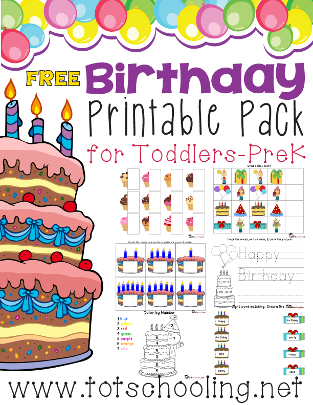 Free Printable Birthday Pack for Toddlers-PreK