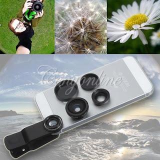 Black 3 in 1 180° Fisheye Lens + Wide Angle + Macro Lens Clip Camera Photo Kit