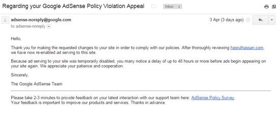 Adsense Re-Enable Setelah Blog Kena Temporarily Disabled